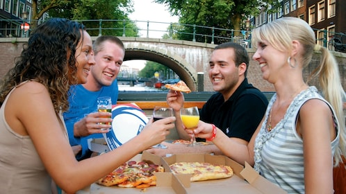pizza and drinks on cruise in amsterdam