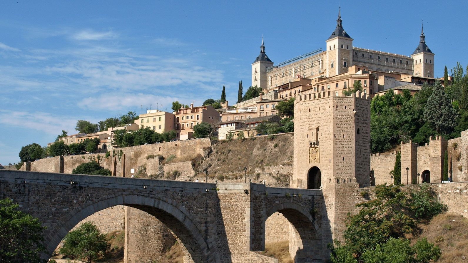 Bridge and buildings in Spain during the day