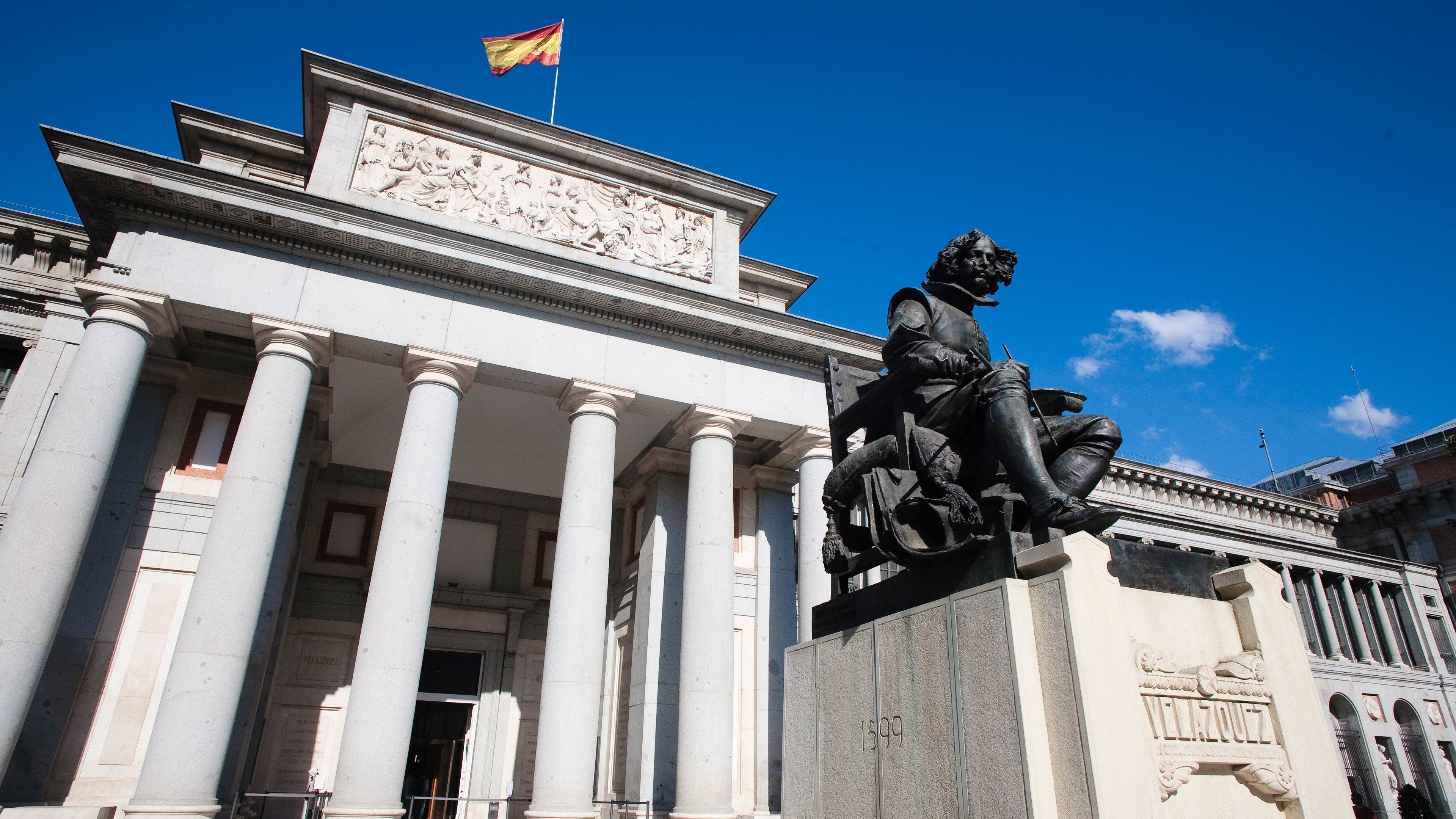 Statue in front of the Museo del Prado the main Spanish national art museum in Madrid
