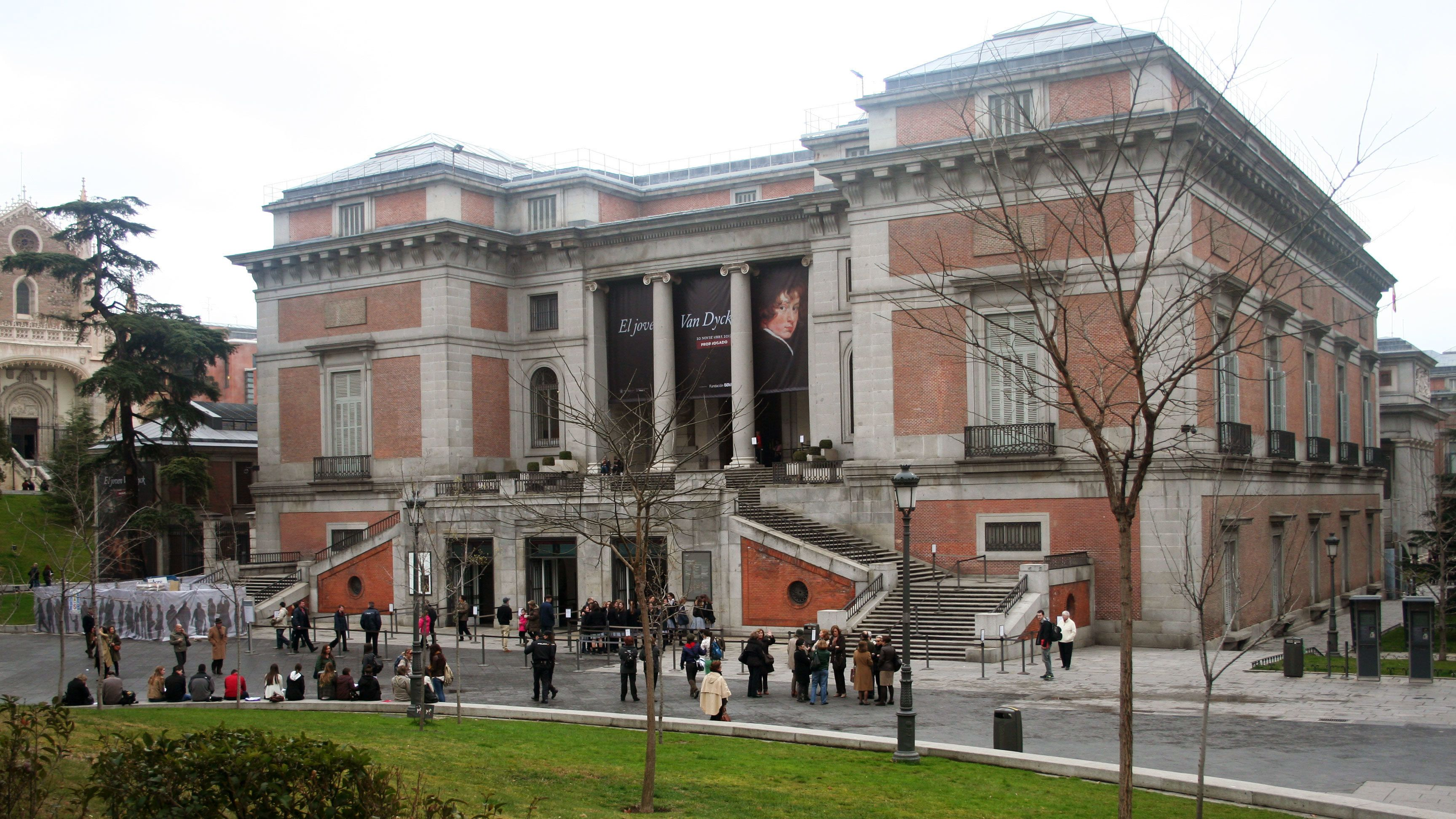 Front view of the Museo del Prado the main Spanish national art museum in Madrid