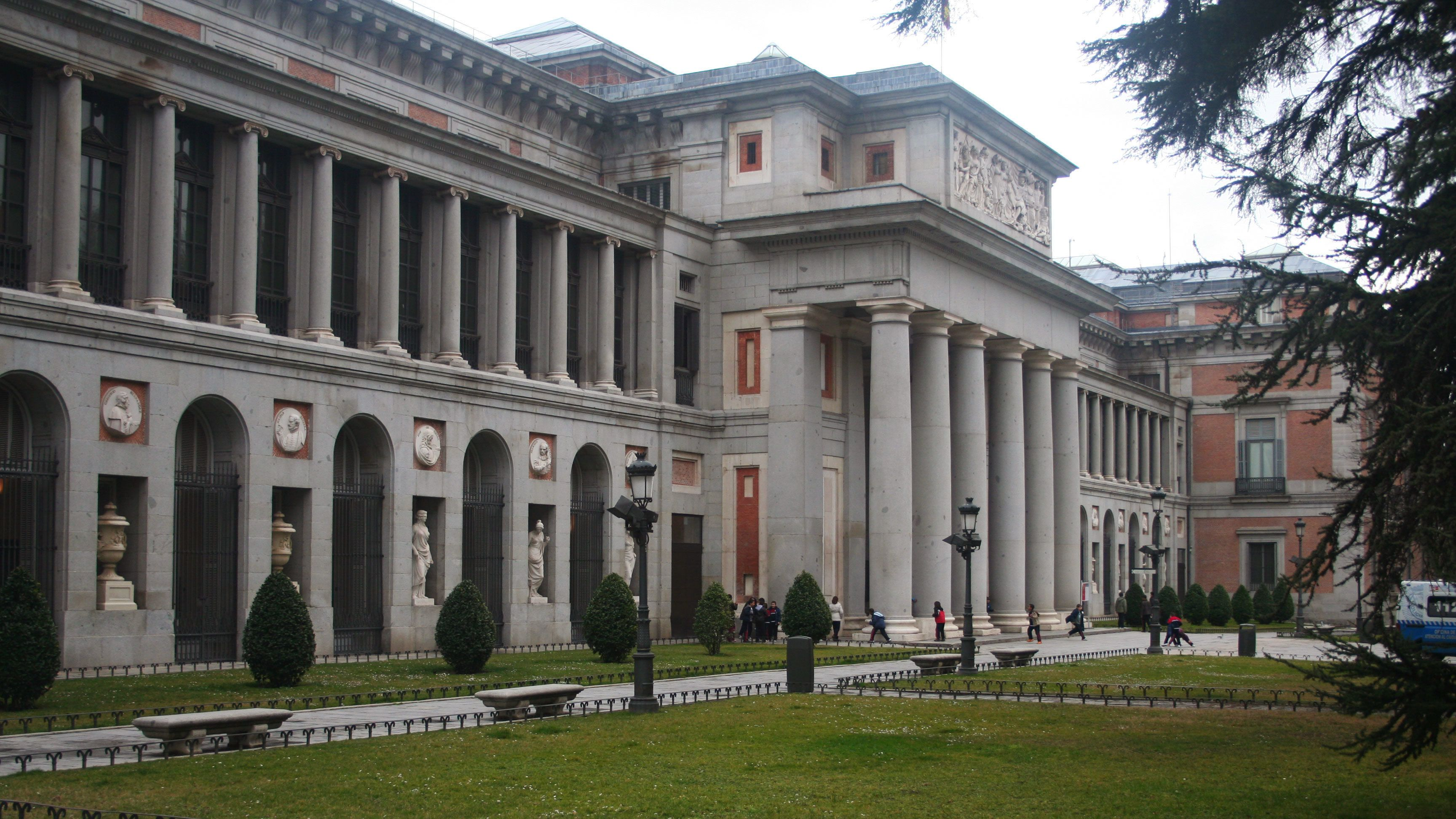 Side view of the Museo del Prado the main Spanish national art museum in Madrid