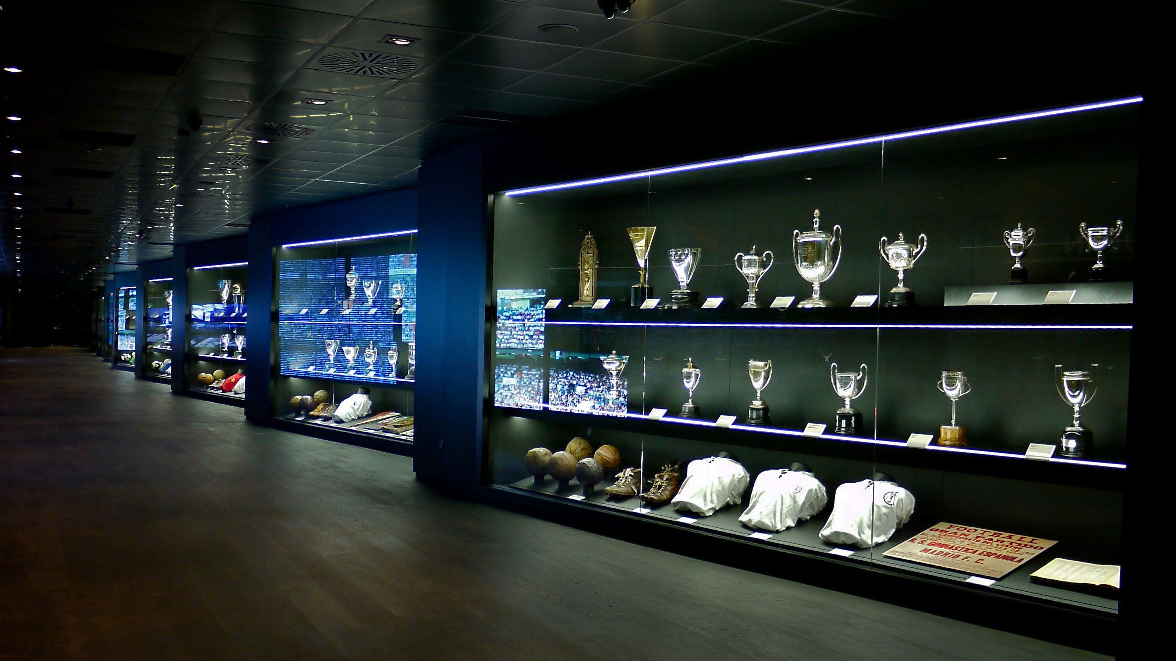 View of the Trophies Exhibition at Bernabeu Stadium in Madrid