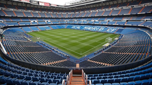 Wide angle view of an empty Bernabeu Stadium in Madrid