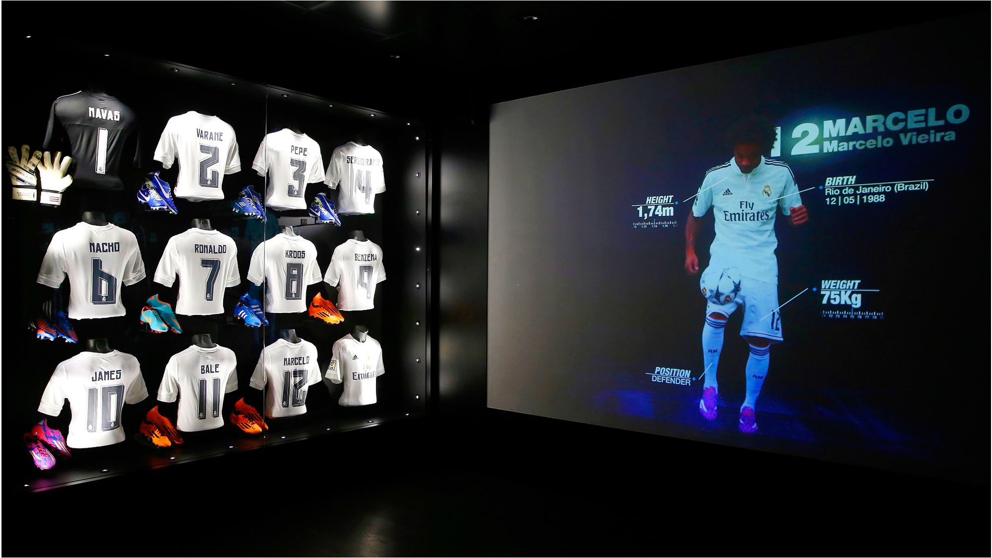 Soccer jerseys and wall graphic of soccer player