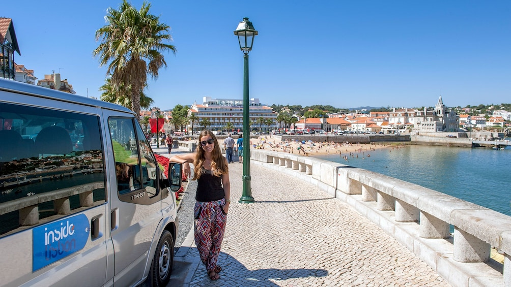 Tourist ready to board the shuttle bus to tour around Portugal
