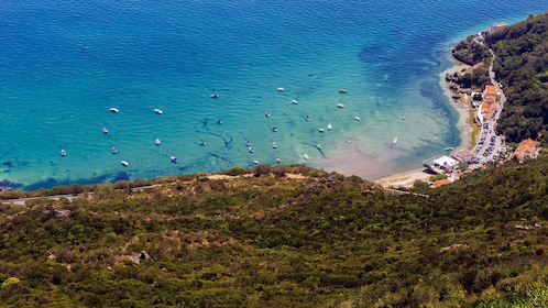 Aerial view of Sesimbra, a fishing village in Portugal