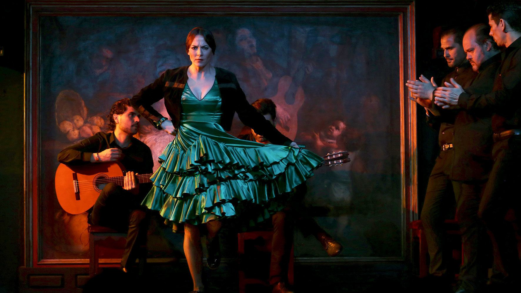 Female dancer performing to live music during the Flamenco Show at Corral de la Moreria in Madrid