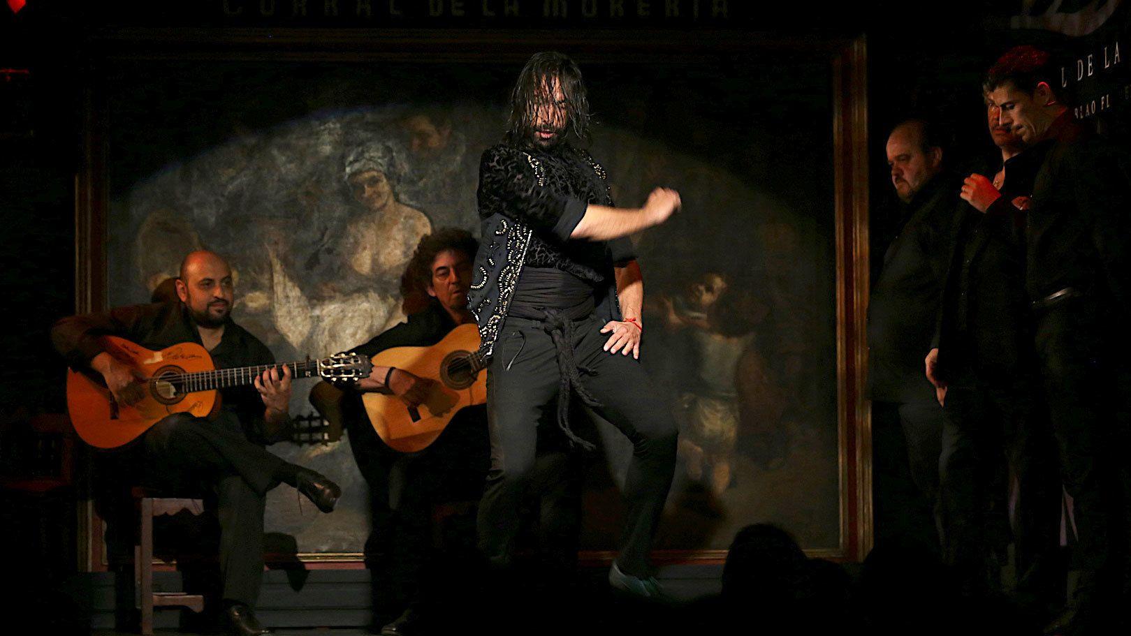 Male dancer performing at the Flamenco Show at Corral de la Moreria in Madrid