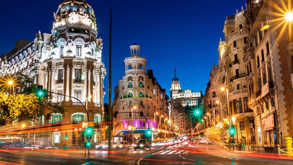 Night street view of Madrid