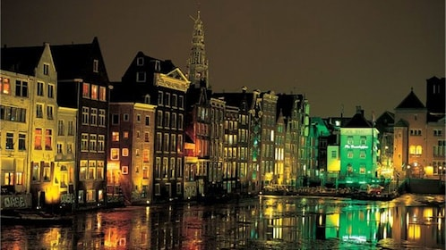 city view at night in amsterdam
