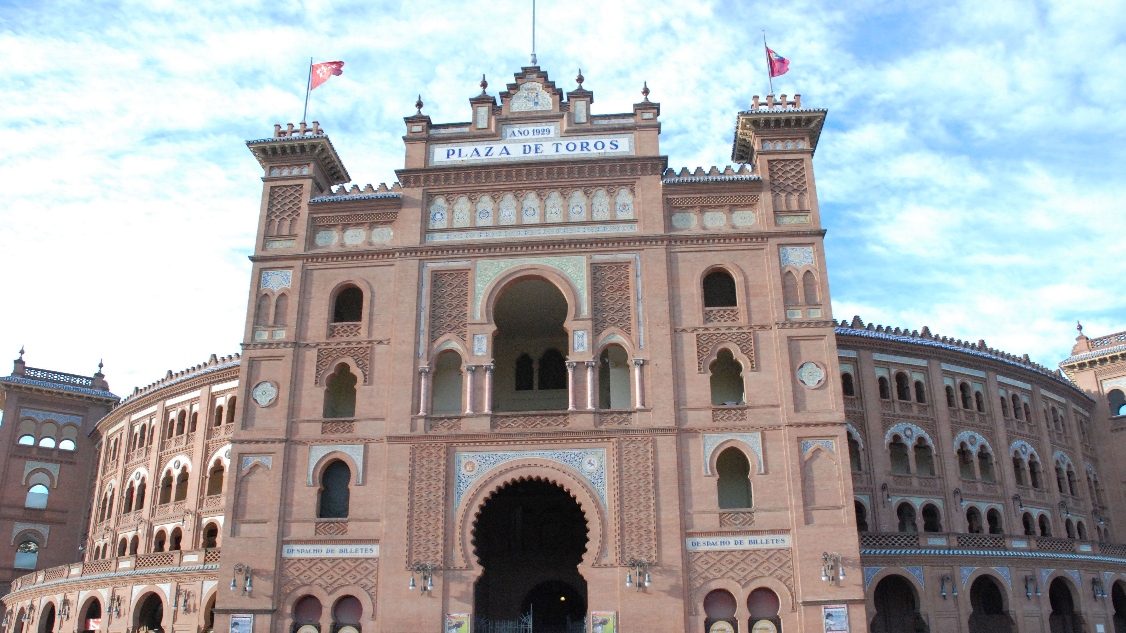 Close view of the front of the Las Ventas in Madrid