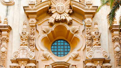 intricate facade of building in San Diego City sightseeing tour in California