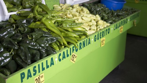 Peppers on sale in the Tijuana up and down city tour in San Diego