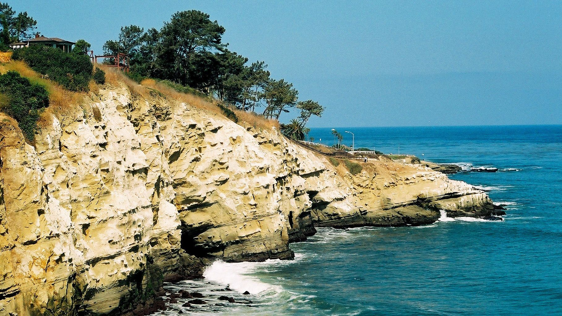 Landscape of La Jolla with sea cave in San Diego
