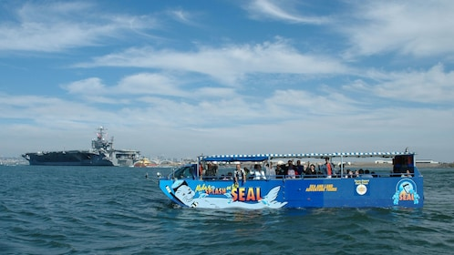 The hydra terra amphibious vehicle in the ocean near San Diego