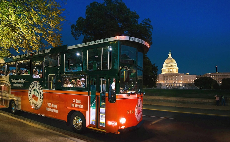 Show item 5 of 8. Washington DC National Monuments by Moonlight Trolley Tour