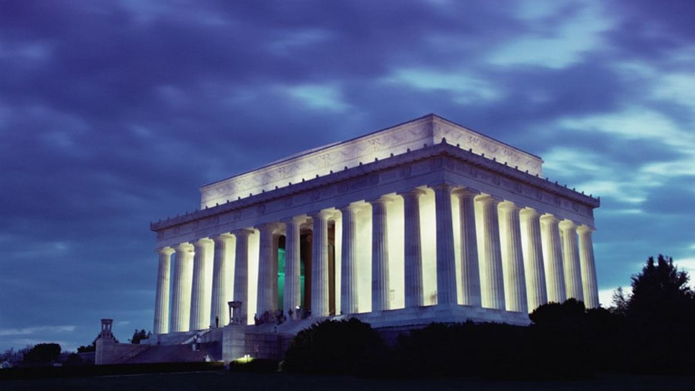 Show item 8 of 8. The Lincoln Memorial at night in Washington DC