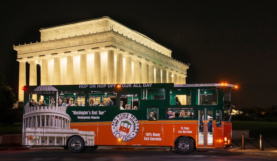 Show item 1 of 8. Washington DC National Monuments by Moonlight Trolley Tour