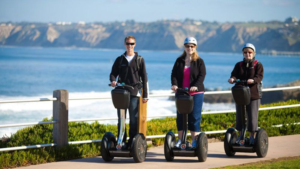 Segway tourist on trail in San Diego