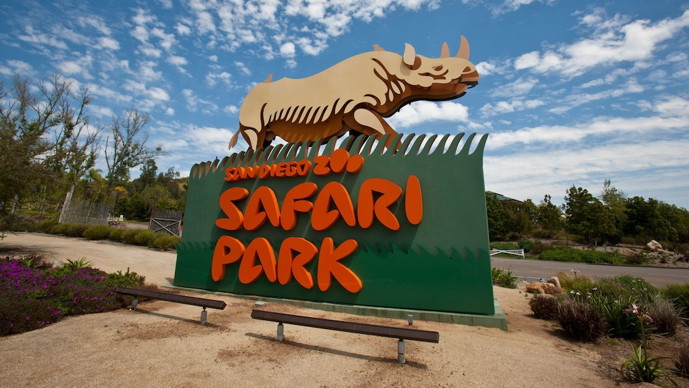 Show item 3 of 8. Sign for the Safari Park in the San Diego Zoo