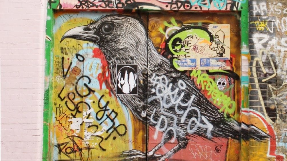 Show item 3 of 7. street art paint and graffiti on building in London