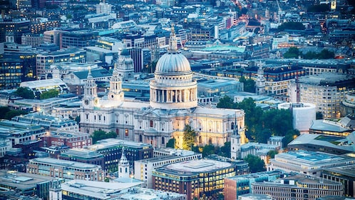 ariel view of St. Paul's Cathedral in London