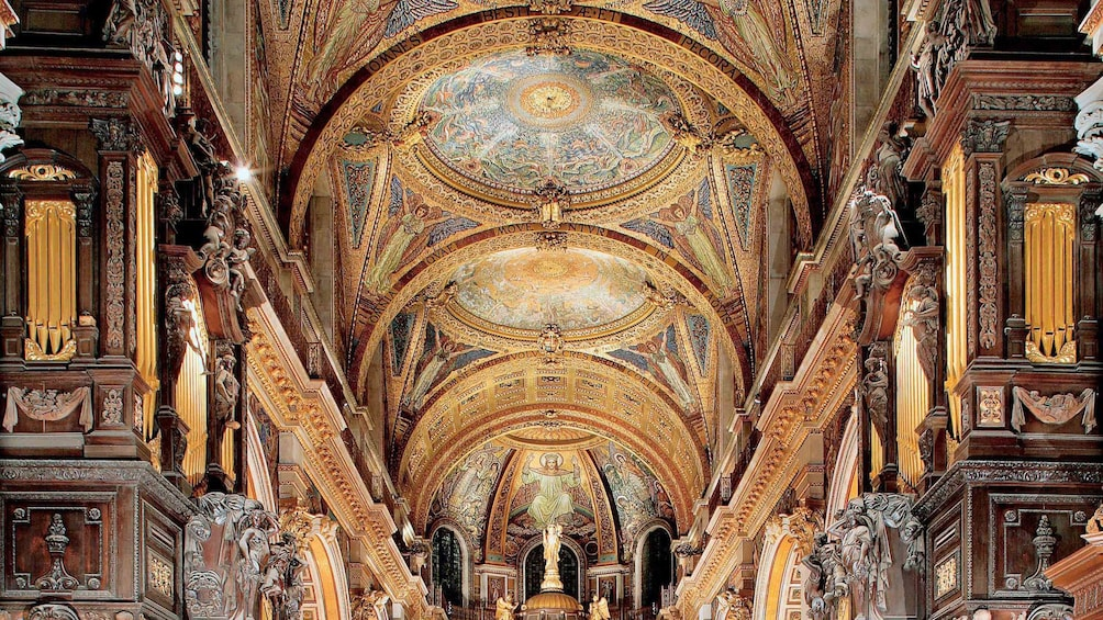Show item 2 of 8. row of ceiling mosaics inside St. Paul's Cathedral in London