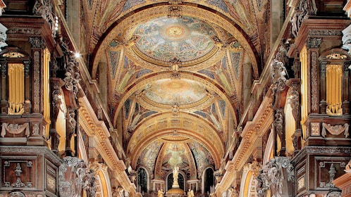 row of ceiling mosaics inside St. Paul's Cathedral in London