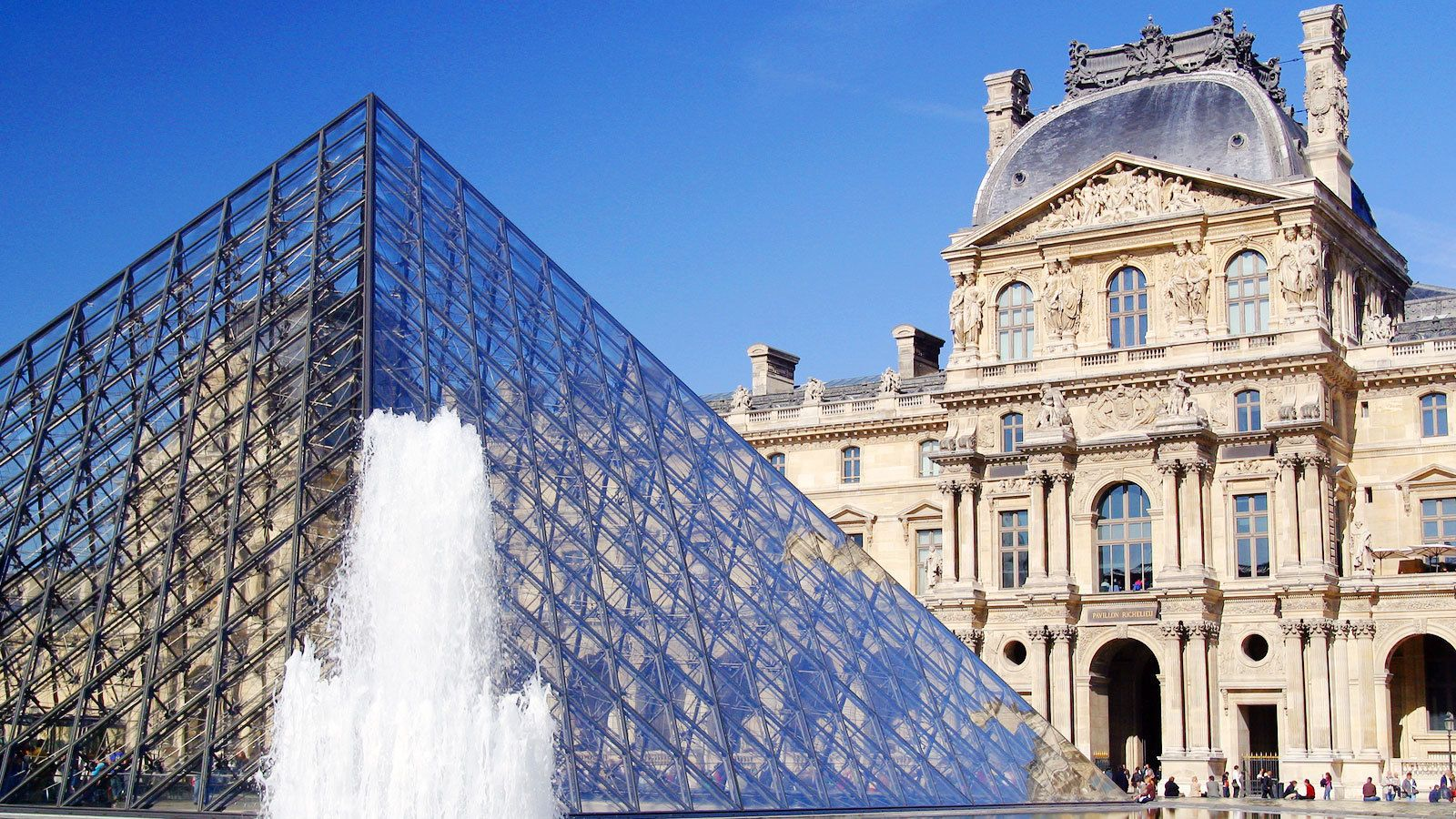 glass pyramid at the louvre in paris