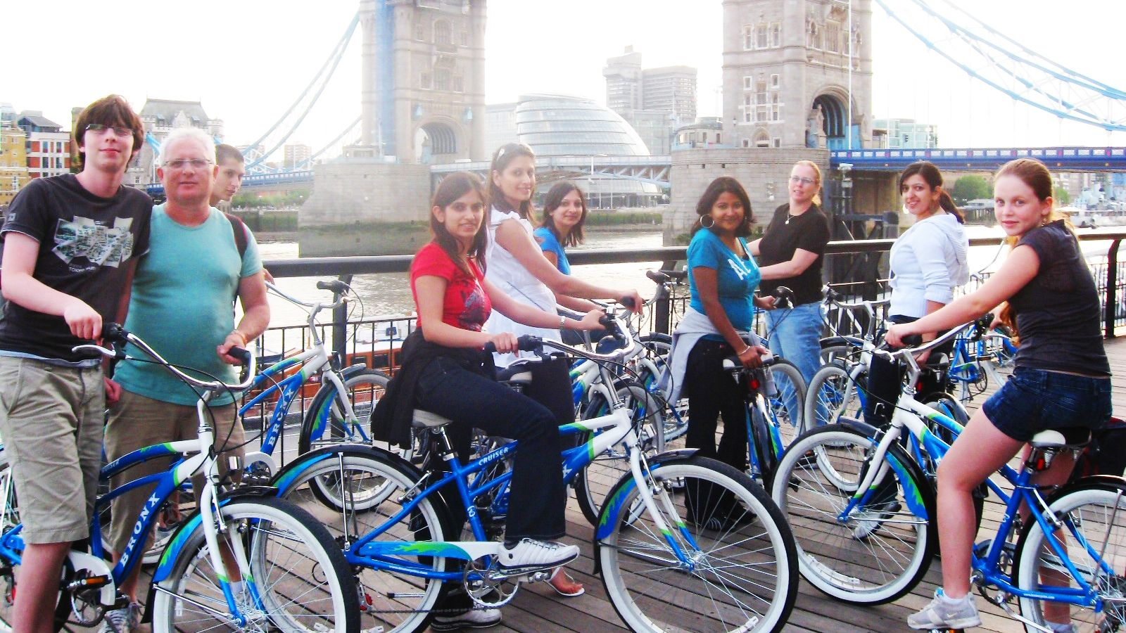 group of people on bicycles in front of London Bridge in London