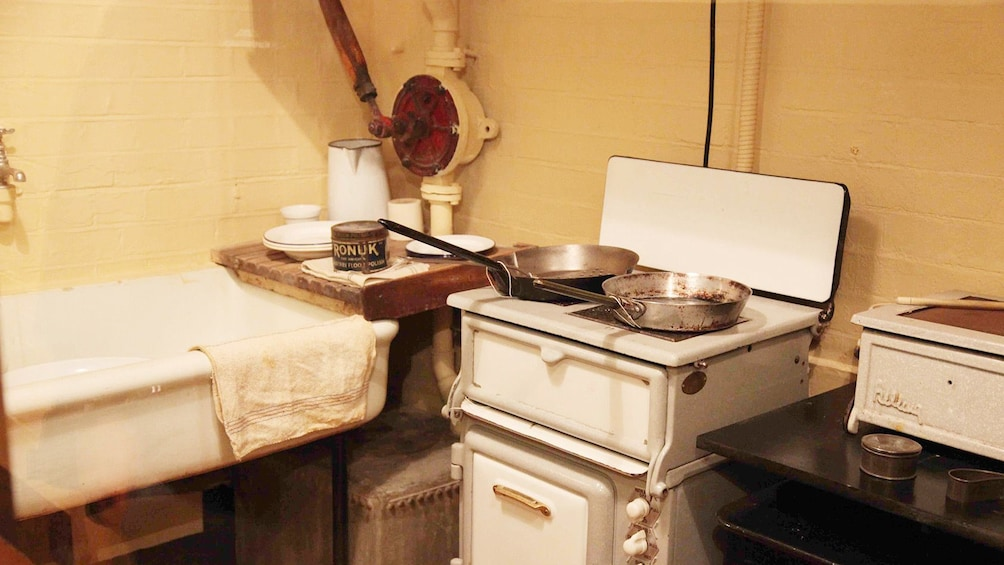 Show item 5 of 5. small kitchenette at the Churchhill War Room museum in London