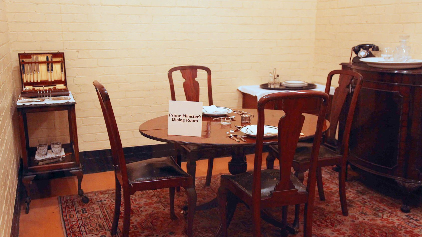 diner table set for Churchill at Churchhill War Room museum in London