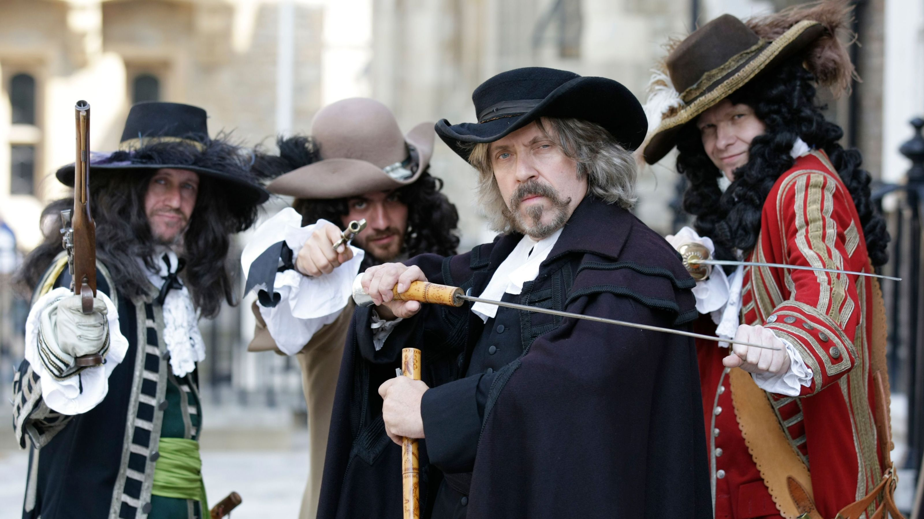 Character actors with sabers and pistols in Tower of London