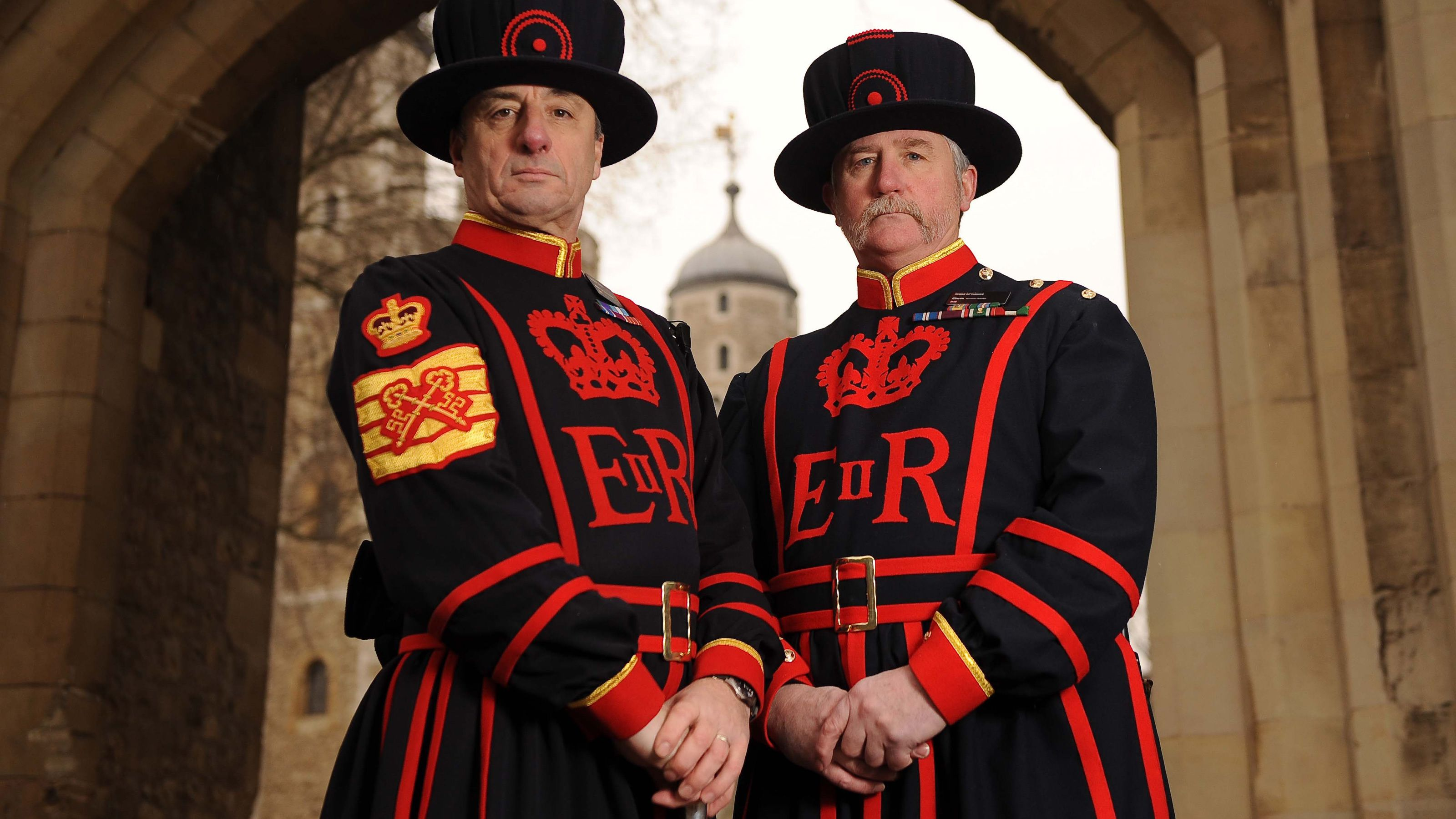 two men in authentic Beefeater apparel at Tower of London