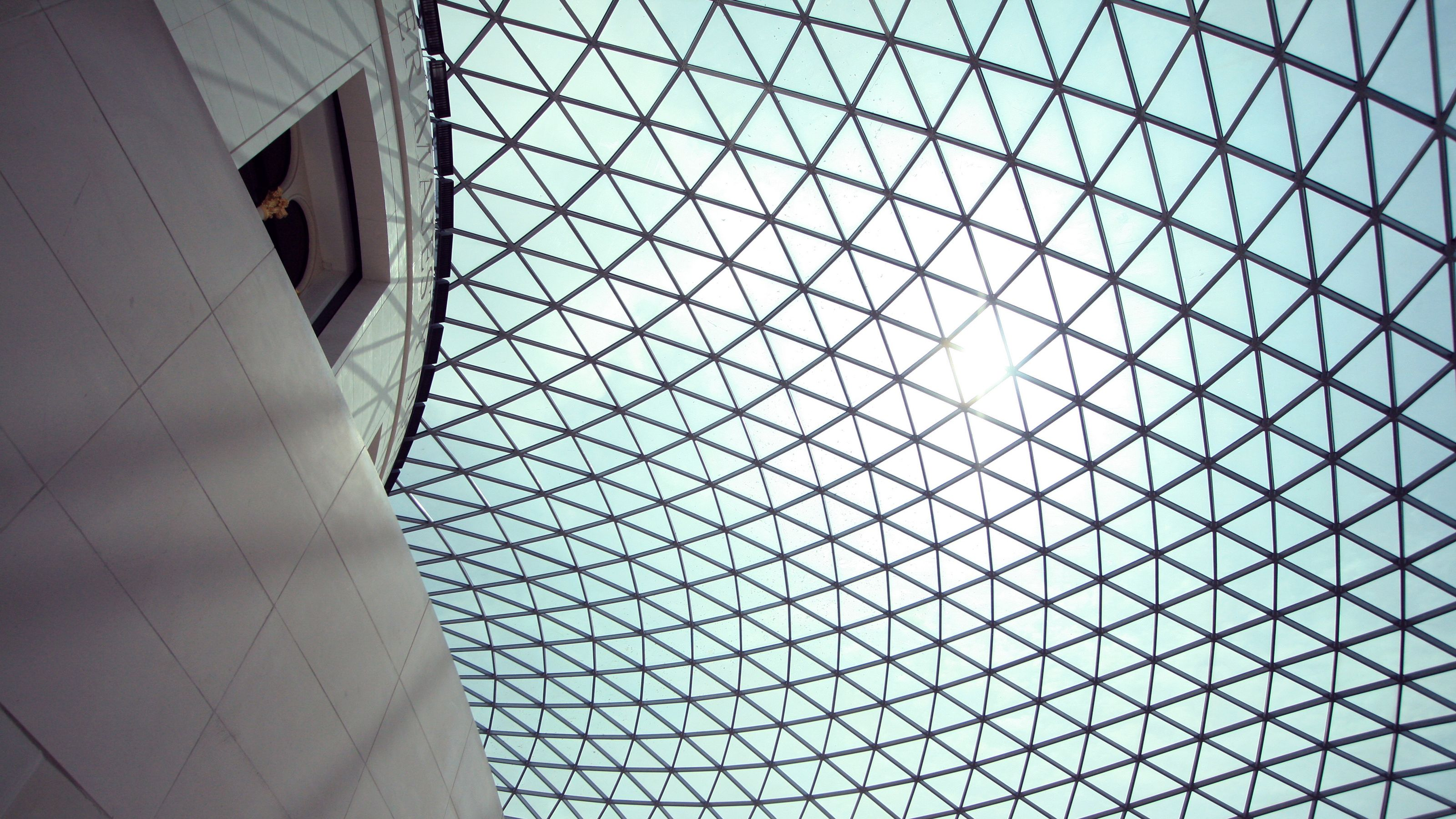 triangle glass ceiling at museum in London