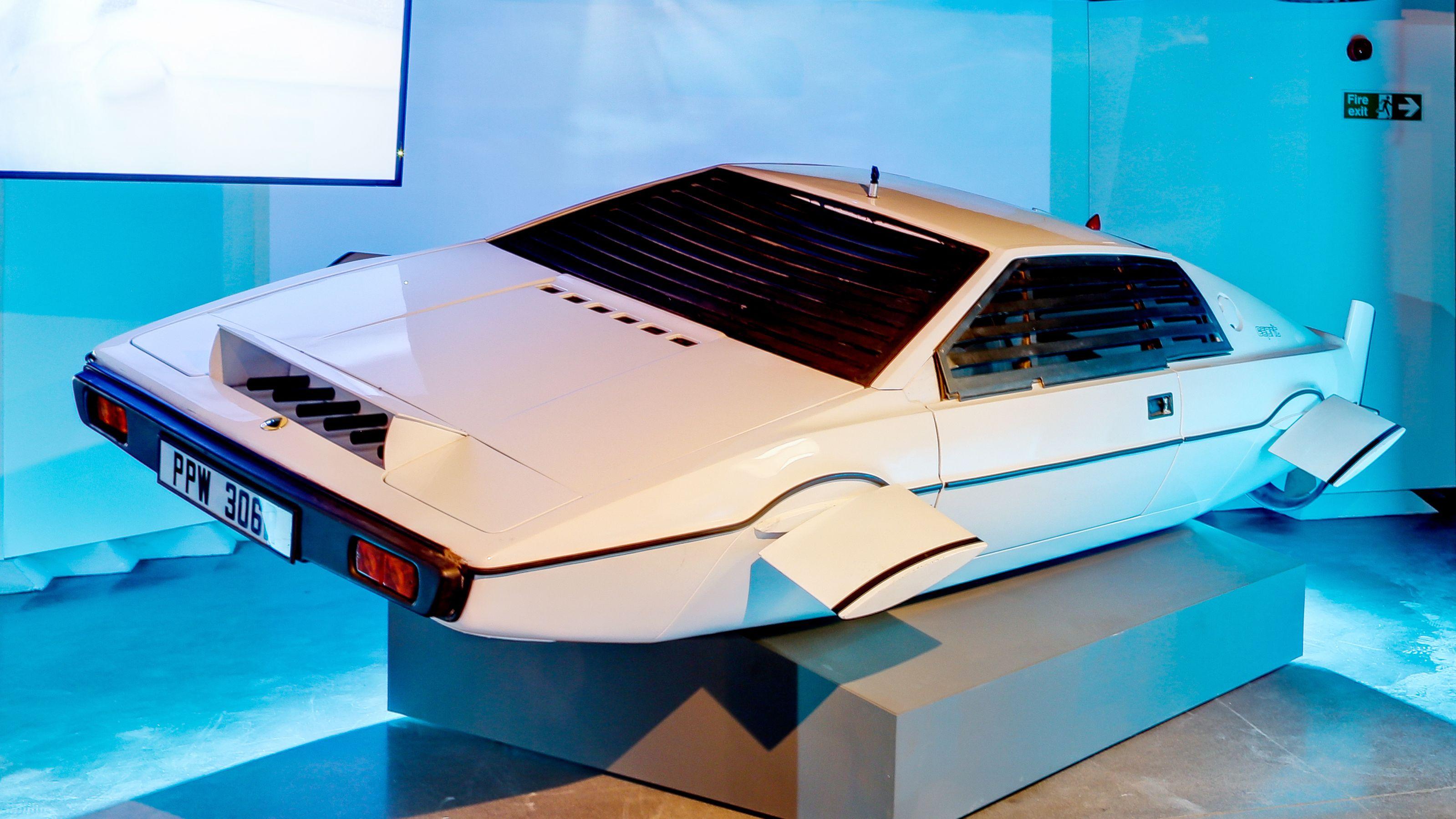 futuristic sports car on display at London Film Museum