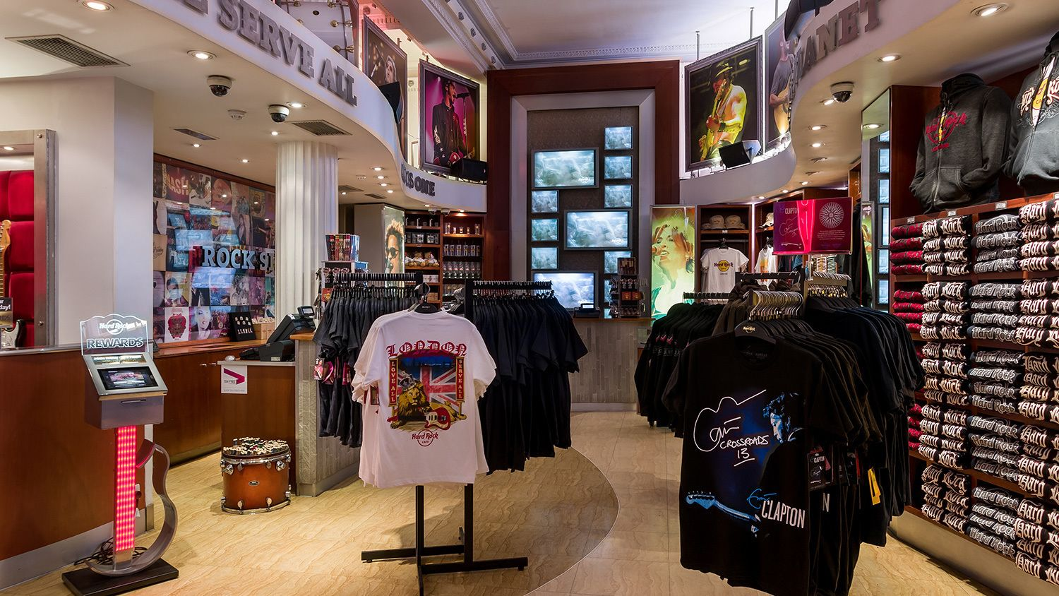 T-shirts at gift store in Hard Rock Cafe in London