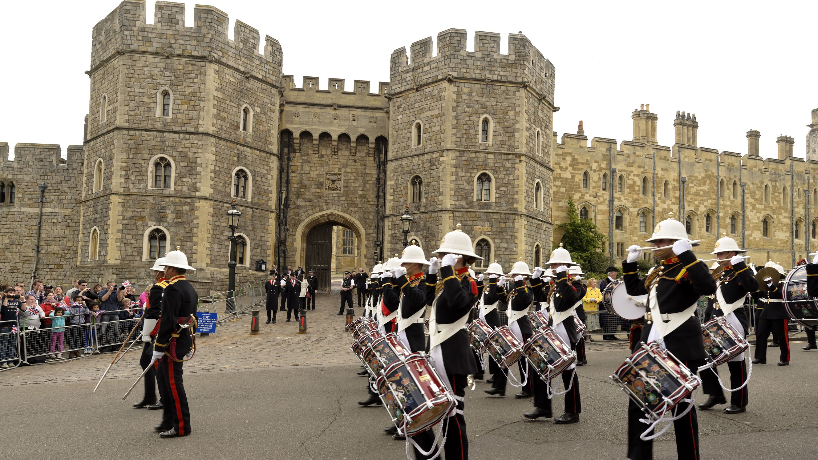 marching band playing drums at Windsor Castle in London