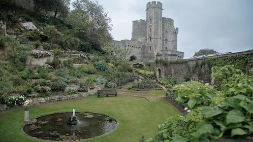 private garden and pond behind Windsor Castle in London