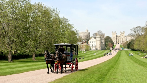 horse drawn carriage walks down road from Windsor Castle in London