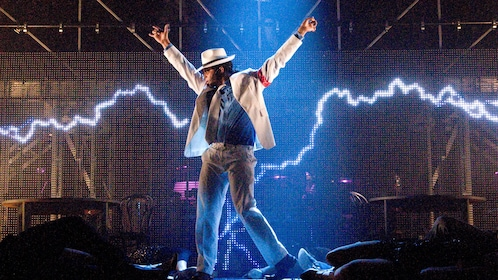 Michael Jackson impersonator on stage in theatre play of Thriller in London