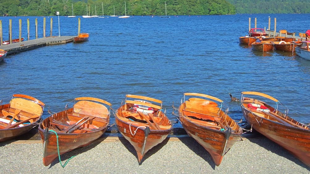 Show item 3 of 10. canoes docked on shore by lake in London