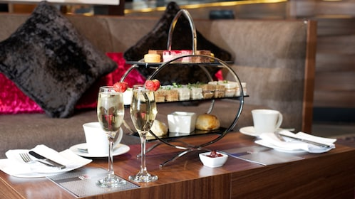 glasses of champagne and pastries at Buckingham Palace in London