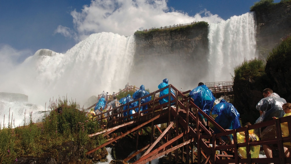 Walking up the wooden stairs near the waterfall in Niagara Falls