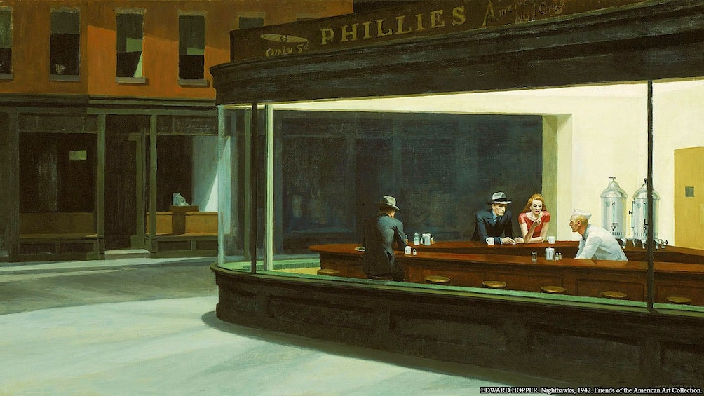 Apri foto 5 di 9. Night hawks painting by Edward Hopper in the art institute of chicago