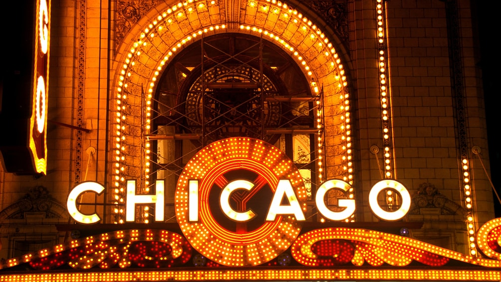 Show item 2 of 5. Chicago sign lite up in Illinois
