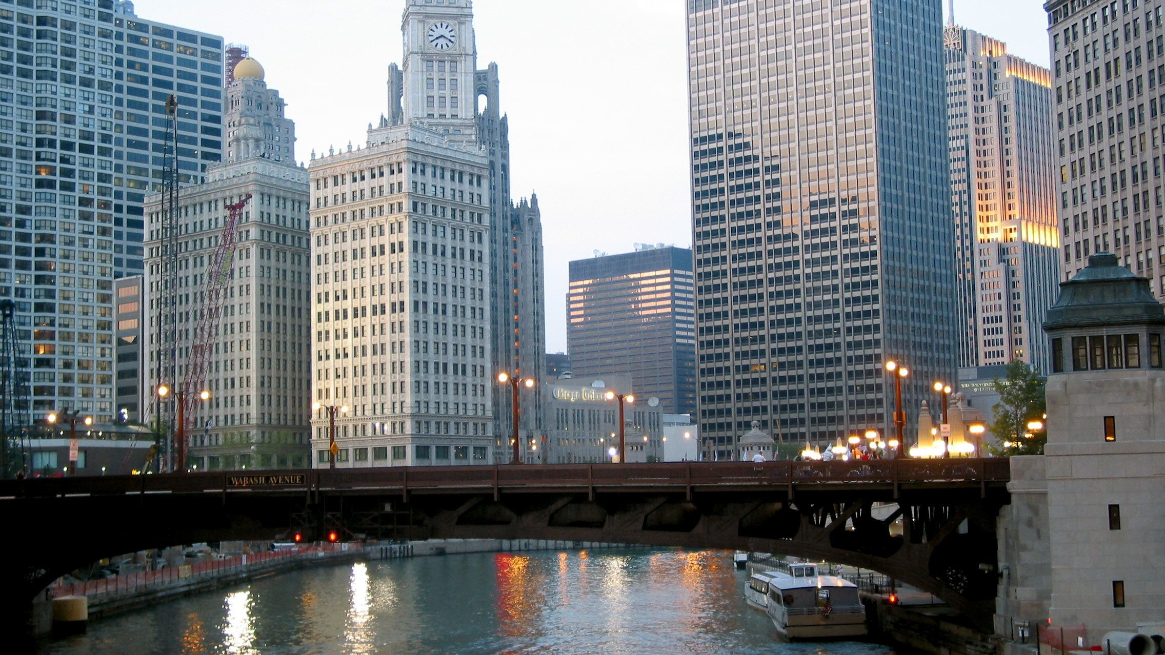 downtown by bridge in chicago