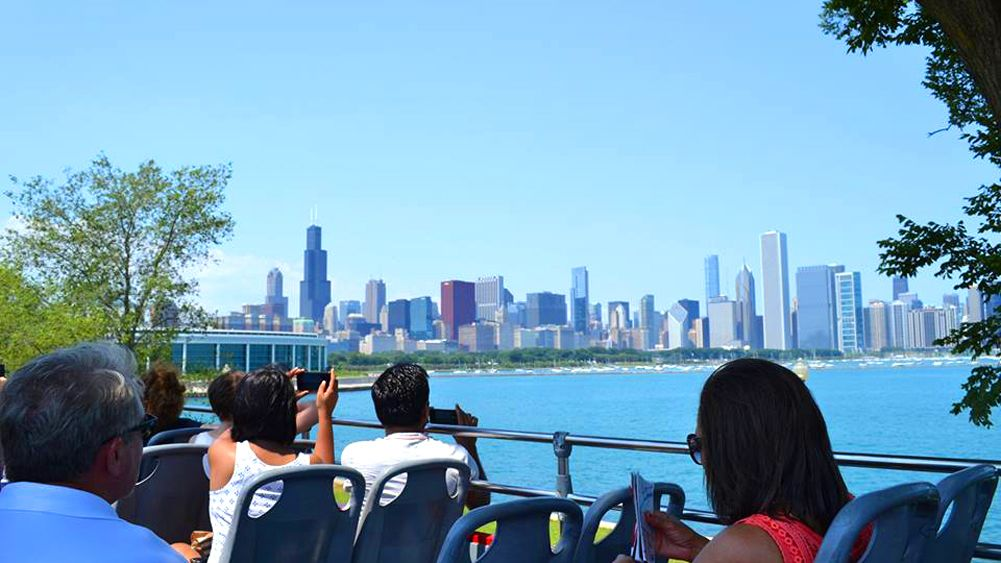 Hop on hop off Bus views the Chicago skyline