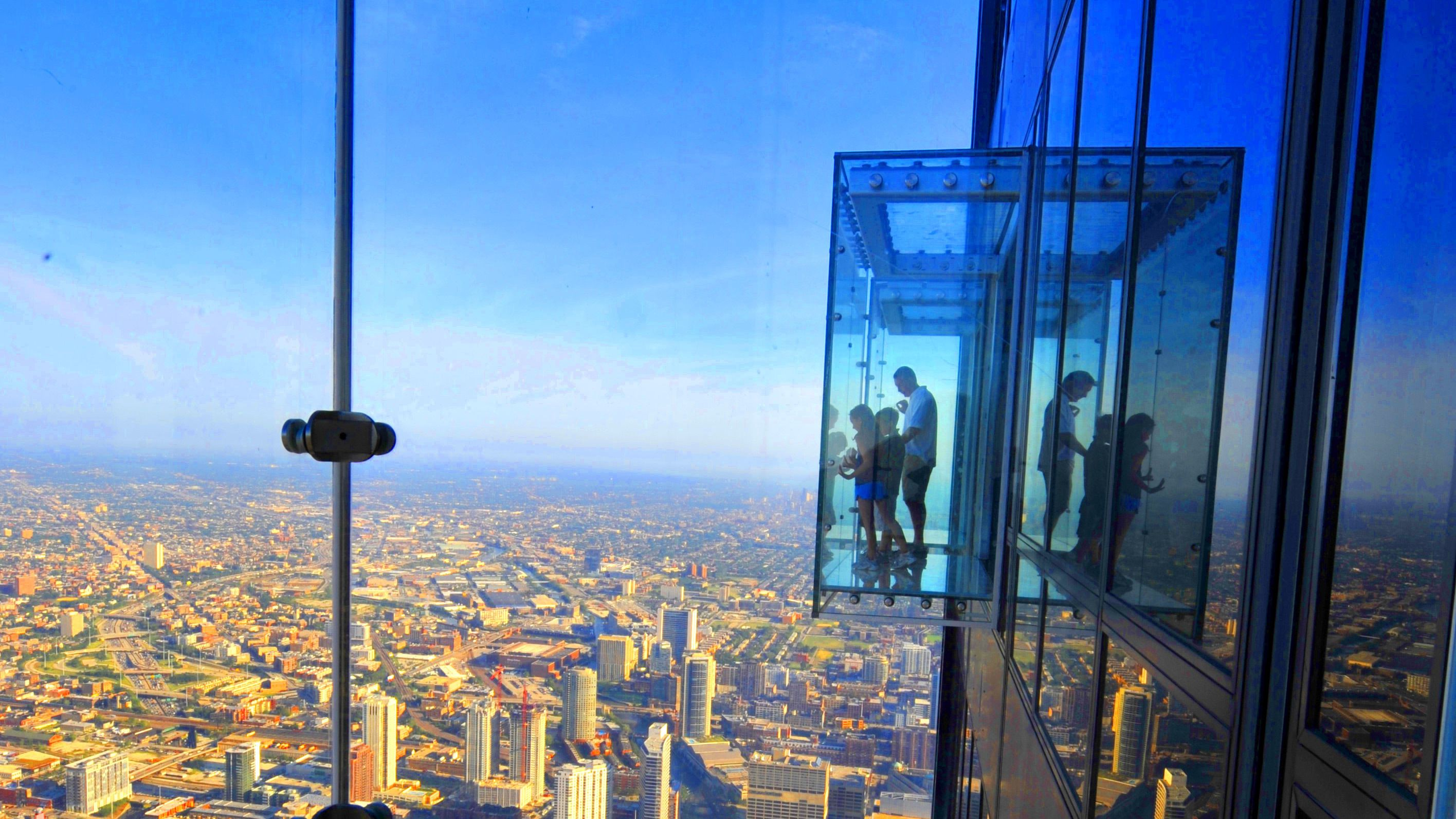 View of Willis Tower observation deck above the city