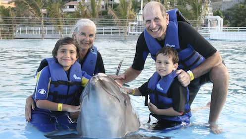 four people pose with a dolphin in Los Cabos